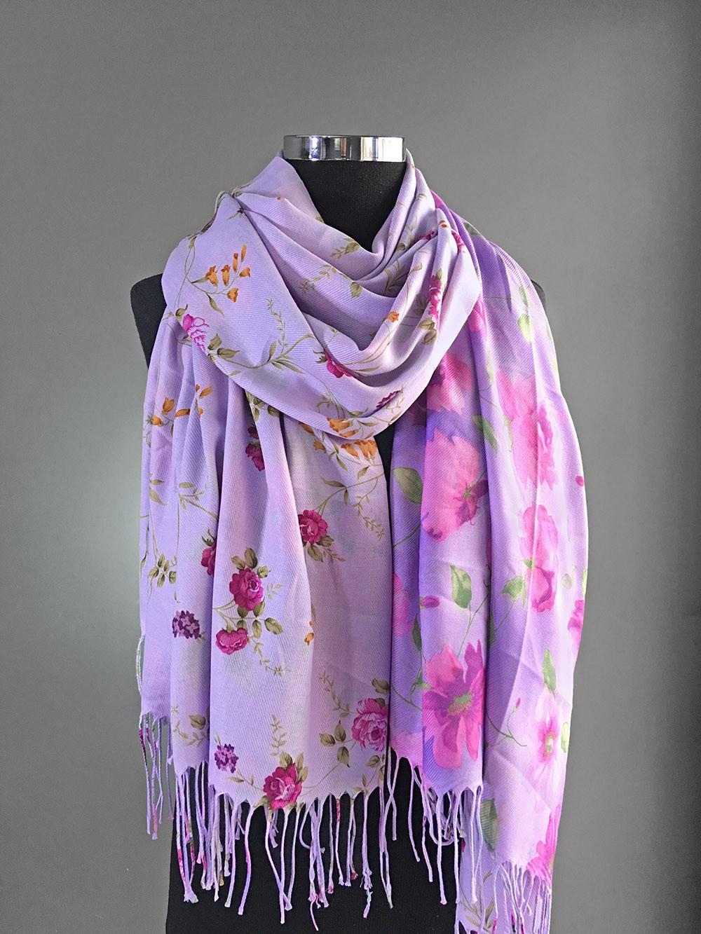Двусторонний палантин лилового цвета