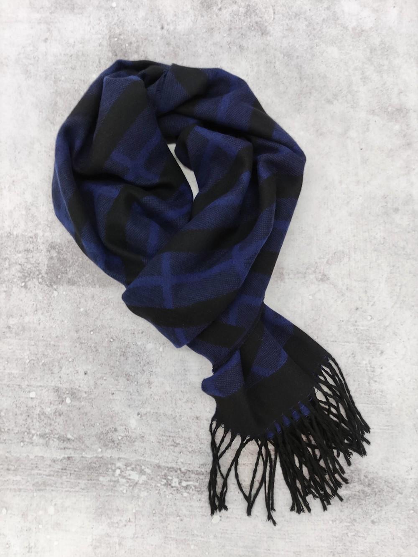 Мужской шарф ультрамариново-синий с черным