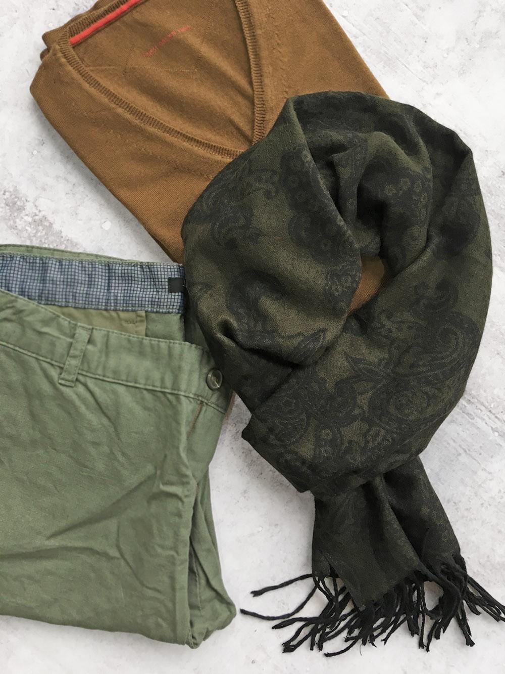 Мужской шарф цвета хаки